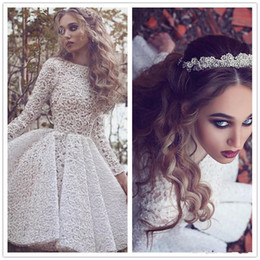 Barato Shorts Pregueados Com Pregas-New Arribal White Lace Long Sleeves Cocktail Party Dresses 2017 Alto Neck Plisses Comprimento do joelho Short Prom Gown Custom Formal Dress