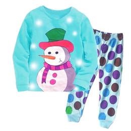 baby clothes suits 2019 - Children Christmas Snowman Suits Pajamas Girls boys Cotton cartoon Dot long Sleeve T-shirt+Pants 2pcs sets baby kids clo