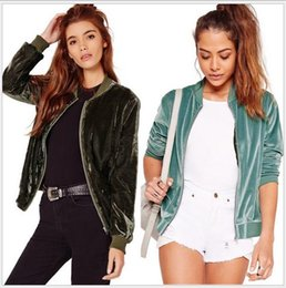 Velvet Army Jacket Canada - 2017 new women's solid color fashion stand collar long sleeve velvet zipper coat jacket plus size casacos SMLXL
