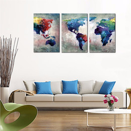 Shop world map frame uk world map frame free delivery to uk 3 panles abstract color map canvas paintings artwork world map pictures prints on canvas wall art for home decor with wooden framed gumiabroncs Gallery