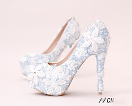 $enCountryForm.capitalKeyWord UK - White Blue Lace Applique Bridal Bridesmaid Wedding Shoes 2017 Prom Evening Night Club Party Super High Heels Hand-made