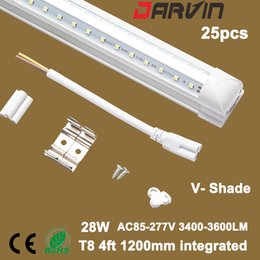 Wholesale T8 Led Tube 4ft V-Shade Integrated Fluorescent Led Light 1200mm 28W Super Bright Lámpara de ángulo de haz de 270 grados Top Ventas