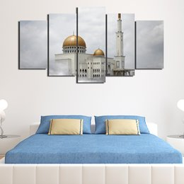 islamic cartoon Canada - 5 Pcs Set Framed HD Printed Islamic Muslim Mosque Picture Wall Print Poster Canvas Oil Painting Cuadros Decorativos