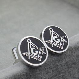 Mens Thanksgiving Shirt Canada - 316 Stainless Steel high quality men's silver masonic cufflink Mens Jewelry freemason shirt cuff Cufflinks wholesale factory