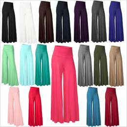 Barato Calças Fitness Harem-Wide Leg Pants Mulheres Casual Slim Flare Pants Palazzo Trousers Moda Harem Calças Loose Long Bloomers Lady Casual Yoga Fitness Capris B2738