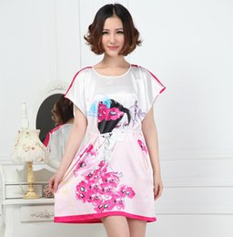 Barato Sexy Chinese Mini-Atacado- Plus Size Summer Ladies Sexy Robe Dress Estilo chinês Vintage Print Capa Camisola Sexy Mini Roupão Pijamas S015-E