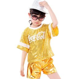 Performance De Danse Hip Hop Pas Cher-10Set / lot 2017 Nouveaux Hip-hop Sequins Jazz Dance Wear Enfants Performance Habillement Modern Hip-hop DS Stage Costume 4 Couleur 0609
