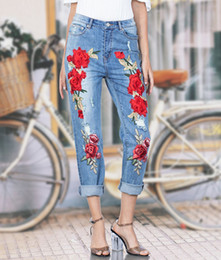 $enCountryForm.capitalKeyWord Canada - 2017 Autumn New style Red Embroidered Casual Jeans Woman High Waisted Ripped Rose embroidery Jeans Fashion Cotton Denim Pant Plus Size S-3XL