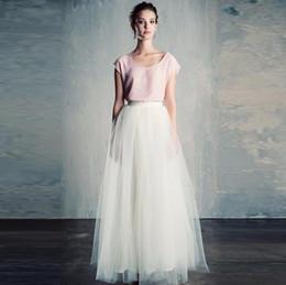 Simple modesto blanco puro falda larga una línea de piso longitud Maxi falda  hecho a medida de buena calidad faldas de tul mujeres moda casual 67bdb7f1384e