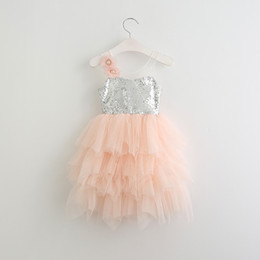 Barato Vestidos De Luxo Menina-Babies tulle Lace Dresses Kids Girls Sequins tutu Vestido 2017 Baby Girl Princess Vestido de festas Children's Summer Luxury Clothing