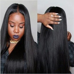 indian virgin hair weave wigs NZ - WIG Human Hair Complete Black Women Glueless Wig Cordon Ombre Brazilian Virgin Hair 100% Color black #1B Full Lace Wig Top Silk Weaving jews
