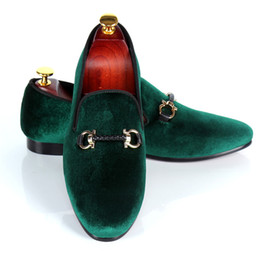 Burgundy Wedding Shoes Canada - Harpelunde Wedding Shoes Mens Buckle Strap Dress Shoes Red Bottom Green Handmade Velvet Loafers Leather Lining Free Drop Shipping Size 7-14