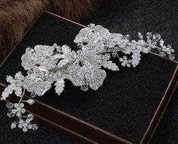 Discount trendy hair fashion - New Fashion Vintage Wedding Bridal Crystal Rhinestone Pearl Beaded Hair Accessories Headband Band Crown Tiara Ribbon Hea
