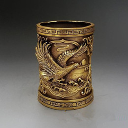 folk arts Australia - Antique Collection Folk Art Chinese Brass Hand-carved eagle & Dragon brush pot