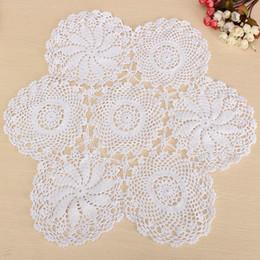 "$enCountryForm.capitalKeyWord NZ - Wholesale- 23"" Round Cotton White Hand Crochet Floral Table Centerpiece Doilies Vintage Lace Knit Coaster Cup Placemat Table Cloth"