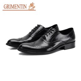 Leather Shoes Sale NZ - GRIMENTIN Hot Sale Man Oxford Shoes Genuine Leather Mens Dress Shoes Italian Fashion Designer Formal Business Office Wedding Male Shoes