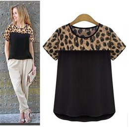 Laisser Tomber L'impression De Léopard Pas Cher-Wholesale- Hot Marketing New Women Leopard Impression En mousseline de soie Short Casual T-Shirt Tops Drop Shipping H22 Drop Shipping