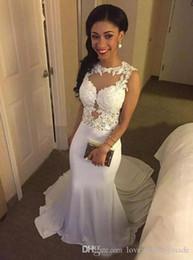 $enCountryForm.capitalKeyWord NZ - White Applique Long Evening Dresses 2017 Scoop Neck Sleeveless Satin Sweep Train Mermaid Prom Party Gowns Slim