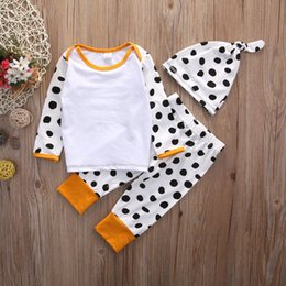 $enCountryForm.capitalKeyWord Canada - 2016 high quality baby boy girl suits children Boys Girls dots printed Outfits Tops T-shirt+Long Pants+Hat 3PCS casual Clothes top cute Set