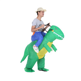 Robes De Fantaisie Mignonnes Pas Cher-Costume de Costume de dinosaure gonflable mignonne d'enfants Costume de fantaisie de marche de fan d'air Costume d'animal gonflable T-Rex de Halloween Party Outfit T-Rex