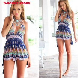 Mono Camisola Baratos-2017 Summer Beach Vacation <b>Camisole Jumpsuit</b> Romper Backless Mujeres Flor Impreso v cuello cómodo corto Playsuits