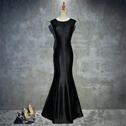 Really Dresses Australia - Really Photo Black Taffeta With Embroidery Beaded Appliques Zipper Mermaid Floor Length Short Sleeves Plus Size Long Prom Dress Avondjurk