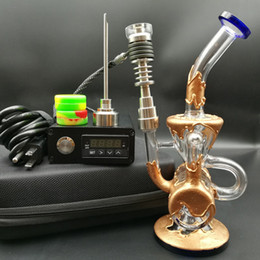 electric nail bong UK - Heady D electric Nail kit E digital Nails Coil PID Dab rig with copper plating double recycler glass bongs oil rigs