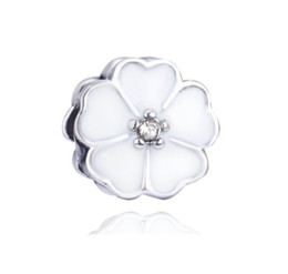 Cherry Blossoms Flowers UK - Fits Pandora Bracelets 30pcs Cherry Blossom Flower Silver Enamel Charm Bead Loose Beads For Wholesale Diy European Sterling Necklace Jewelry
