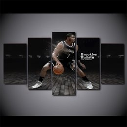 cartoon star picture Australia - 5 Pcs Set Framed HD Printed Basketball Star Brooklyn Modern Wall Pictures Home Wall Decor Poster Canvas Painting