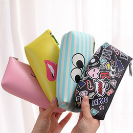 Chinese  Wholesale- 2017 New Mini Travel Cosmetic Bag Cute Cartoon Women Lady Waterproof Pu Leather Make Up Brushes Lipstick Toiletry Storage Bag manufacturers
