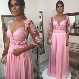 Discount brides mom silver dress - Newest Pink A-line Long Mother of the Bride Dresses 3 4 Sleeve Appliques Chiffon Mother Evening Prom Dresses Gowns Mom D