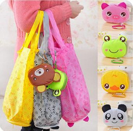 Japanese Fashion Cartoon Canada - Japanese cute cartoon animal shopping bag folding portable fashion waterproof bag