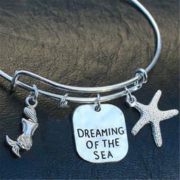 adjustable stamp 2019 - 12pcs Dreaming of the Sea Stamped Charm Bangle Bracelet Genuine Aqua Sea Glass Adjustable silver tone cheap adjustable s