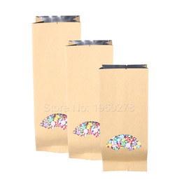 Gusset Packaging Bag Canada - Many Sizes 15 Wire Thickness 100pcs Tear Notches Flat Brown Kraft Paper Bag Open Top Side Gussets Package Bags with Clear Window