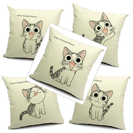 $enCountryForm.capitalKeyWord NZ - 9 Styles 45x45cm Cotton Linen Cat Pillow Cover Chi's Sweet Home Cat Pattern Day Gift Cushion Cover Thick Throw Pillow Case for Office Sofa