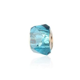 Crystal Sister UK - Lake Blue Crystal European Beads Silver Core Jewellery for Bracelets Charms 925 Fit Pandora Bracelets Best Friends Sisters Charms Bangles