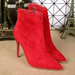 Booties heels for women online shopping - New Women s Sexy Red Bottom High Heel mm Ankle Boots Brand Designer Thin Heels Autumn Short Booties Shoes for Women Female Footwear