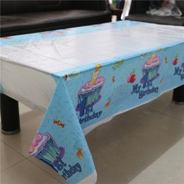 $enCountryForm.capitalKeyWord NZ - Wholesale-108*180cm disposable tablecloth Cartoon My 1st Birthday theme kids birthday decoration party plastic table cover supplies