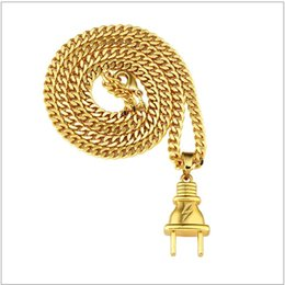 Hipster Necklaces NZ - Hipsters Hip Hop Jewelry Metal 18K Goldon Plated Plug Pendants Twist Chain Necklace Jewelry Men Women Lovers Bijoux Couple Joyas