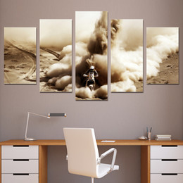 Discount motorcycle oil paint - 5 Pcs Set Framed HD Printed Canvas Prints Motorcycle Cross Desert Painting Picture Print Home Decor Poster Modern Oil Pa
