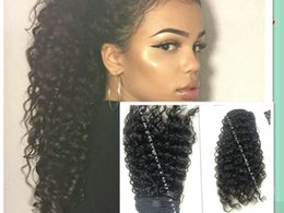 $enCountryForm.capitalKeyWord Canada - Kinky Curly Human Hair Pony tail Hairpiece Virgin 10A Drawstring Ponytail 1b Human Hair For Black Women 1 piece hair extension