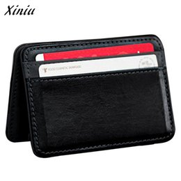 Chinese  Wholesale- Xiniu Wallet Cross Elastic Strap  Holder Mini Magic Bifold Leather Wallet Carteira Masculina #1213 manufacturers