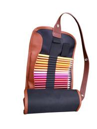 36 color pencils online shopping - 36 pens shade color pencil bag canvas pen color pencil blinds pen bag Black Pink