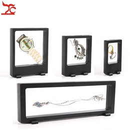 Glass Ring Display Case Canada - Free Shipping 4Pcs Black Transparent Suspension Window Case Multifunctional Jewelry Earring Bracelet Bead Necklace Ring PET Display Stand