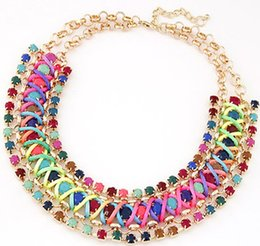 Chinese  3 Rows Strass Necklaces Women Fashion Braid Wrap Crystal Necklace Blue Beige Colors Party Necklace Lady Jewelry Free Shipping manufacturers