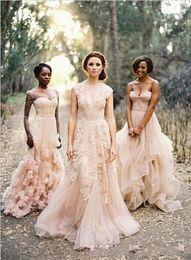 $enCountryForm.capitalKeyWord NZ - Pink Lace Applique Tulle Wedding Dresses Deep V Sheer Neck Wedding Dresses Vintage A Line Wedding Bridal Gown 2017 Hot Sale