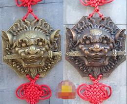 Fan Shops Canada - Genuine Xiang lion bronze tiger head card Jairi pendant pendant diameter 11 gossip lion bite sword beast first card Emmanuel shop