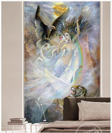 $enCountryForm.capitalKeyWord Australia - High end Custom 3d photo wallpaper murals wall paper Oil painting angel and animal 3d living room wallpaper background wall home decor