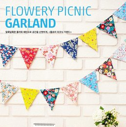 Wholesale New cute flowery party paper flag set DIY