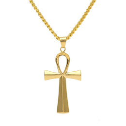 "$enCountryForm.capitalKeyWord NZ - NEW Stainless Steel Ankh Necklace Egyptian Jewelry Hip Hop Pendant Iced Out Gold Key To Life Egypt Cross Necklace 24"" Chain"